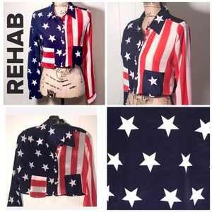 Rehab-Red/Wh./BlueAmerican Flag Crop Blouse 🇺🇸